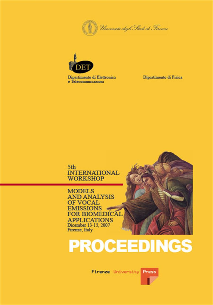 Models and analysis of vocal emissions for biomedical applications: 5th International Workshop: December 13-15, 2007, Firenze, Italy